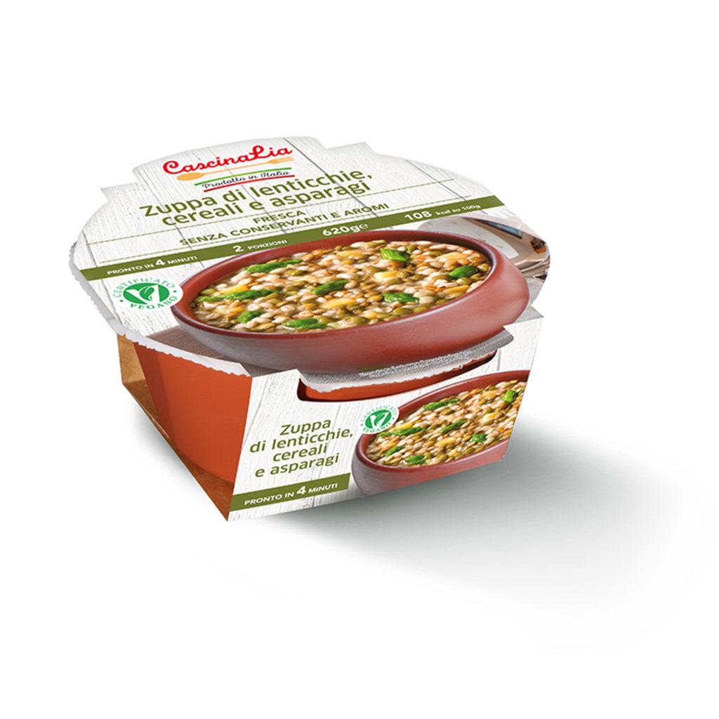 Zuppa di Lenticchie Cereali e Asparagi